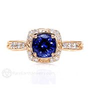 Rare Earth Jewelry Sapphire Ring Art Nouveau Vintage Style with Diamond Accents Rose Gold