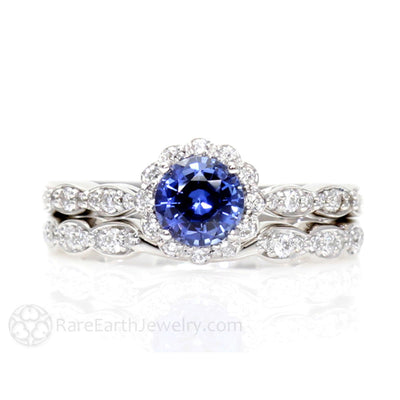 Rare Earth Jewelry Blue Sapphire Wedding Ring Set with Diamond Accents 14K or 18K Gold Round Cut Vintage Style Design