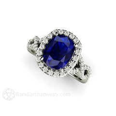 Blue Sapphire Bridal Ring Cushion Diamond Halo Infinity Band Rare Earth Jewelry