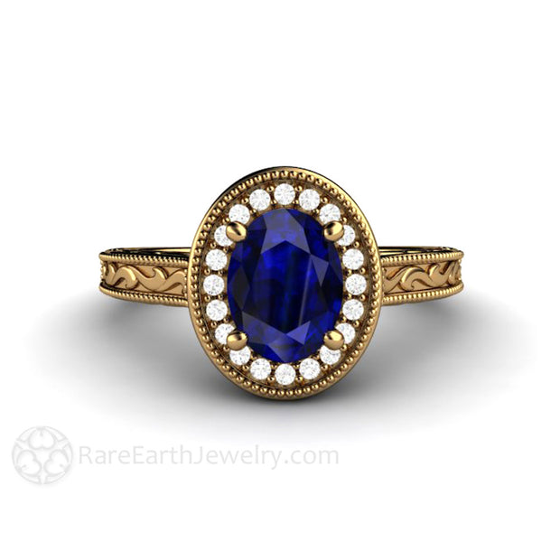 18K Royal Blue Oval Sapphire Solitaire Engagement Ring Rare Earth Jewelry