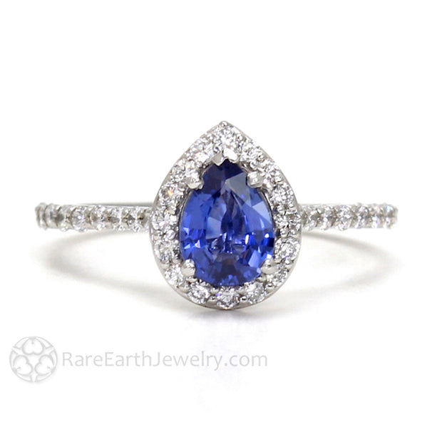 Rare Earth Jewelry Pear Shaped Blue Sapphire Halo Wedding Ring September Birthstone