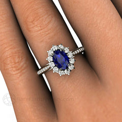 Rare Earth Jewelry Oval Blue Sapphire Engagement Ring on Finger