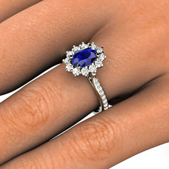 Rare Earth Jewelry Oval Blue Sapphire Bridal Ring Kate Middleton Style
