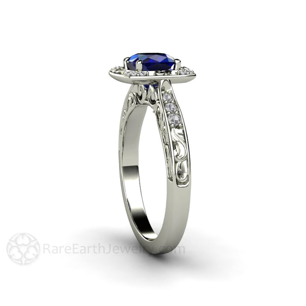White Gold Blue Sapphire Art Deco Ring Rare Earth Jewelry