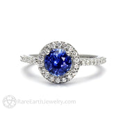 Rare Earth Jewelry Ceylon Blue Sapphire Bridal Ring Diamond Accent Stones