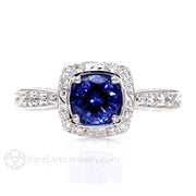 Rare Earth Jewelry Art Nouveau Blue Sapphire Engagement Ring Round Cut 14K or 18K Gold