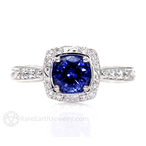 Art Nouveau Blue Sapphire Engagement Ring Diamond Halo