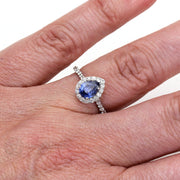 Rare Earth Jewelry Pear Blue Sapphire Right Hand Ring on Finger