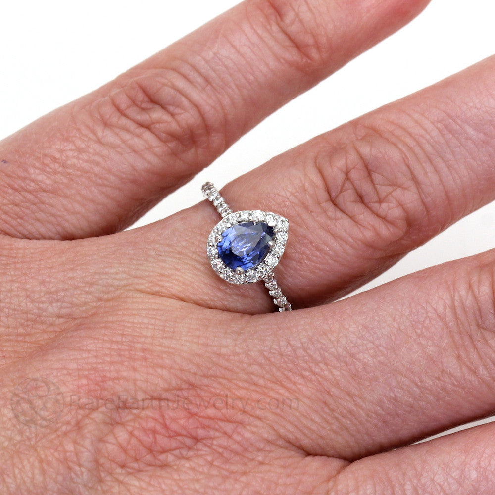 Blue Sapphire Engagement Ring Pear Cut with Diamond Halo - Rare ...