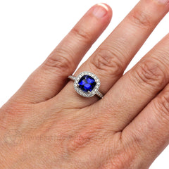 Rare Earth Jewelry Cushion Sapphire Ring on Finger September Birthstone with Diamonds