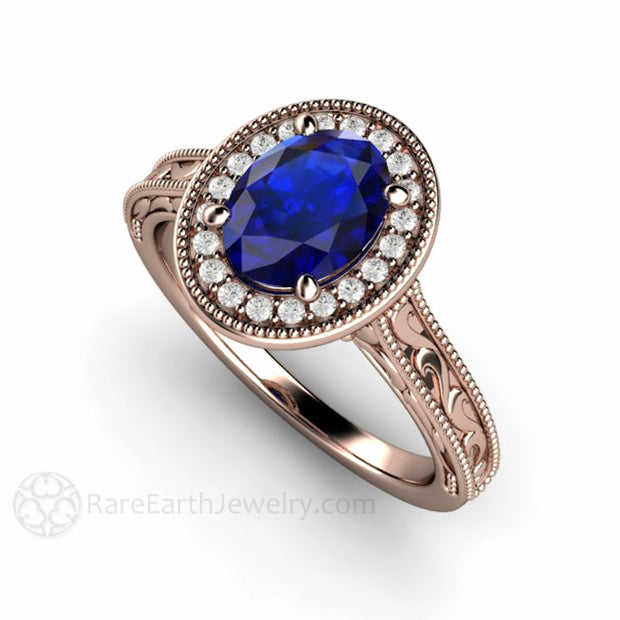 Rare Earth Jewelry Oval Navy Blue Sapphire Solitaire Engagement Ring Vintage Style Rose Gold Halo Setting
