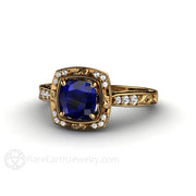 18K Blue Sapphire Bridal Anniversary Ring Rare Earth Jewelry