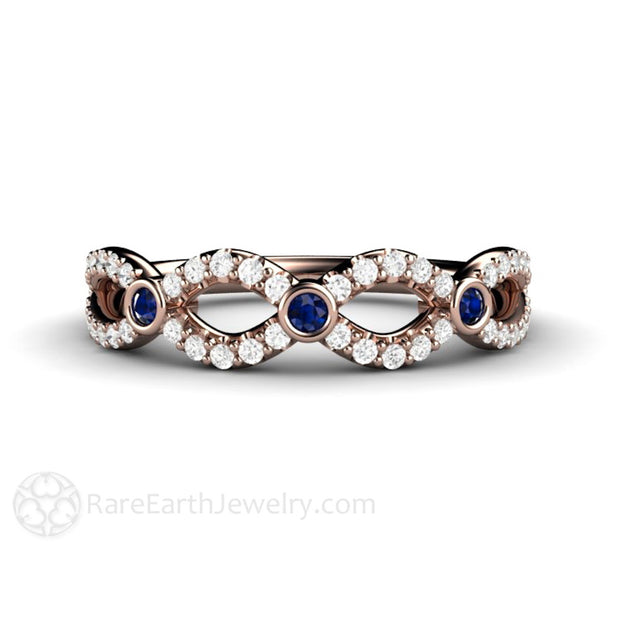 Rose Gold Diamond Infinity Band Blue Sapphire Accents Rare Earth Jewelry