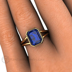 Emerald Blue Sapphire Ring on Finger Rare Earth Jewelry