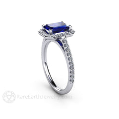 Emerald Blue Sapphire Ring September Birthstone or Anniversary Ring Diamond Halo Rare Earth Jewelry