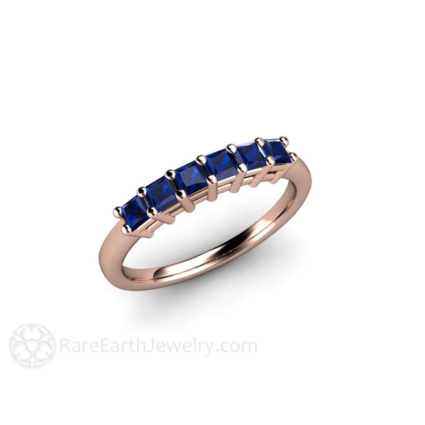 Rose Gold Princess Blue Sapphire Ring Stackable Rare Earth Jewelry