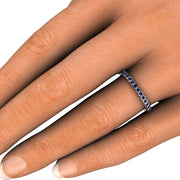 Blue Sapphire Bezel Stacking Right Hand Ring on Finger Rare Earth Jewelry