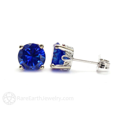 Blue Sapphire Earrings Round Studs in 14K Gold
