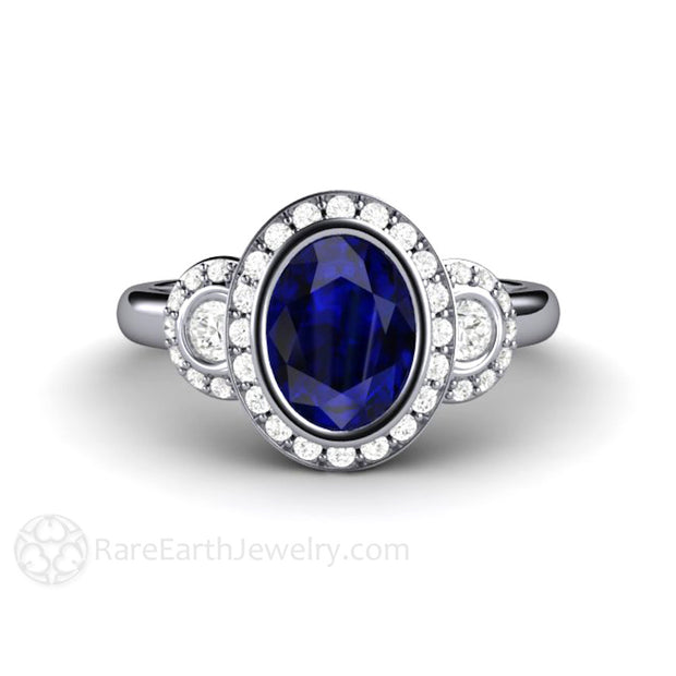 Rare Earth Jewelry Vintage Oval Cut Blue Sapphire Halo 3 Stone Ring with Diamonds Platinum 3 Stone Setting