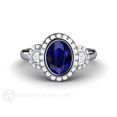 Vintage Oval Cut Blue Sapphire Halo 3 Stone Ring with Diamonds Platinum 3 Stone Setting Rare Earth Jewelry