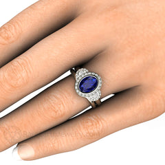 Blue Sapphire Wedding Set Oval Cut Halo on Finger Rare Earth Jewelry