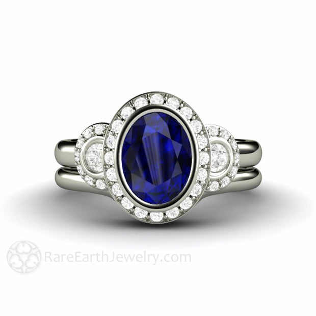 Rare Earth Jewelry Blue Sapphire Wedding Set Oval Diamond Halo Engagement Ring 14K