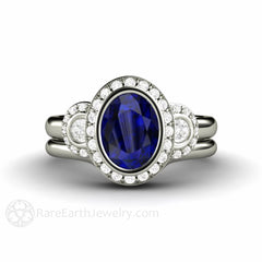 Blue Sapphire Wedding Set Oval Diamond Halo Engagement Ring 14K Rare Earth Jewelry