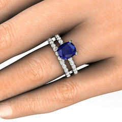 Cushion Blue Sapphire Bridal Set on Finger Rare Earth Jewelry
