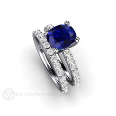 Rare Earth Jewelry Cushion Blue Sapphire and Diamond Wedding Set 14K or 18K Gold