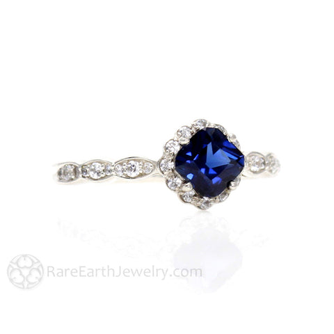 Asscher Blue Sapphire Engagement Ring with Diamond Halo Vintage Style