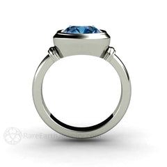 3ct Art Deco Blue Spinel Ring Bezel Solitaire