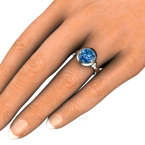 3ct Spinel Ring 14K Bezel Setting on Hand Rare Earth Jewelry