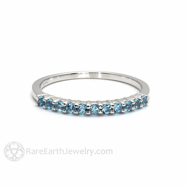 Swiss Blue Topaz Anniversary Ring Stackable Band Rare Earth Jewelry