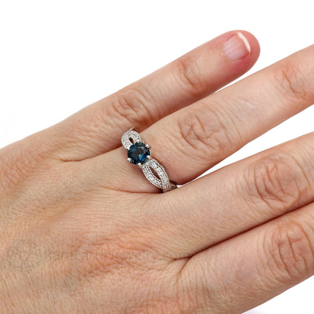 Rare Earth Jewelry Blue Topaz Wedding or Anniversary Ring on Finger Infinity Design