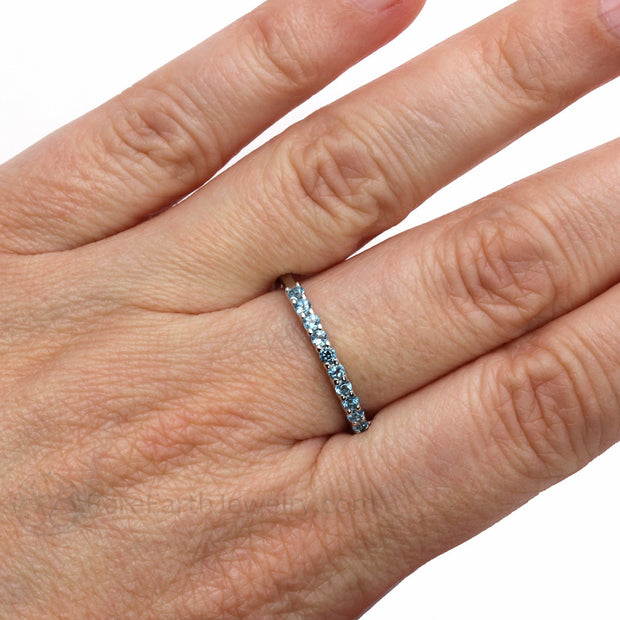 Swiss Blue Topaz Ring on Finger Rare Earth Jewelry