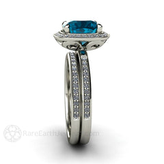 Blue Topaz Bridal Ring Wedding Band Set 14K Cushion Cut Rare Earth Jewelry