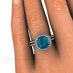Blue Topaz Diamond Halo Wedding Set 14K on Finger Rare Earth Jewelry