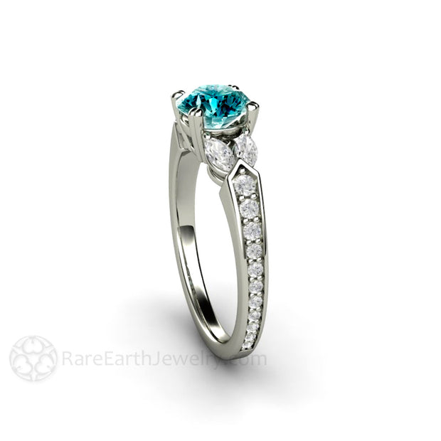 Blue Diamond Solitaire Ring Vintage Style 14K or 18K Round and Marquise Diamonds Rare Earth Jewelry