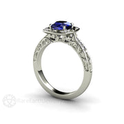 Blue Sapphire and Diamond Engagement Ring Rare Earth Jewelry