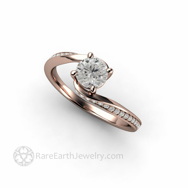 14K Rose Gold 1/2 carat Synthetic Diamond Solitaire Handmade Engagement Ring by Rare Earth Jewelry
