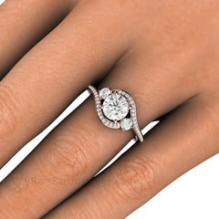 Round Cut 3 Stone Diamond Wedding Ring Conflict Free