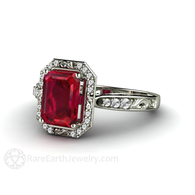 Art Nouveau Style Ruby Engagement Ring Rare Earth Jewelry