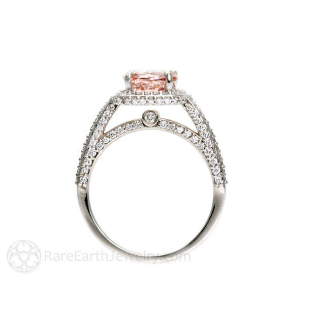 Rare Earth Jewelry Morganite Ring with Diamond Halo Cathedral Setting