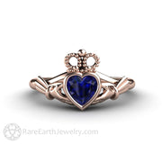 Celtic Engagement Ring with Heart Cut Blue Sapphire Irish Wedding Ring Claddagh Ring in 18K Rose Gold Rare Earth Jewelry