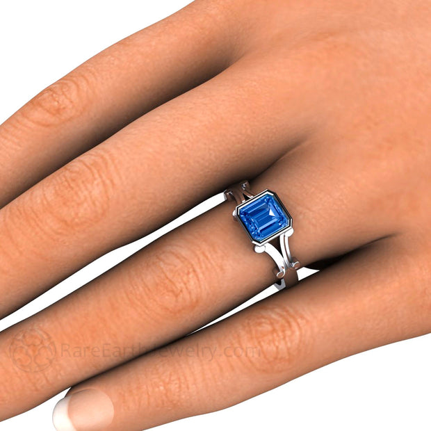 Asscher Cut Sapphire Ring Bezel Split Shank Setting Rare Earth Jewelry