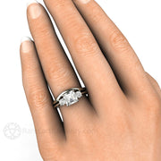 Rare Earth Jewelry Asscher Moissanite Bridal Set on Finger Three Stone Setting