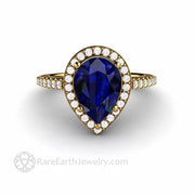 10x7mm Chatham Blue Sapphire in 18K Yellow Gold Pear Shaped Halo