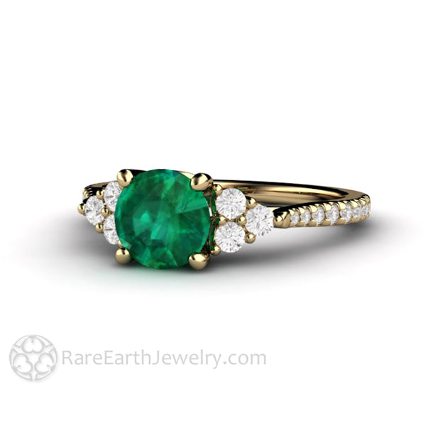 Chatham Emerald Bridal Ring 14K Yellow with Natural Diamond Accent Stones Rare Earth Jewelry