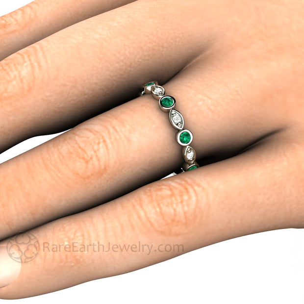 Chatham Green Emerald Right Hand Ring on Finger Stacking Band with Diamonds May Birthstone Rare Earth Jewelry