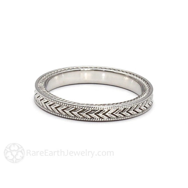 Rare Earth Jewelry Vintage Style Art Deco Milgrain Wedding Band 14K White Gold